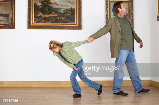 Woman pulling away