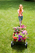 Girl pulling wagon of flowers