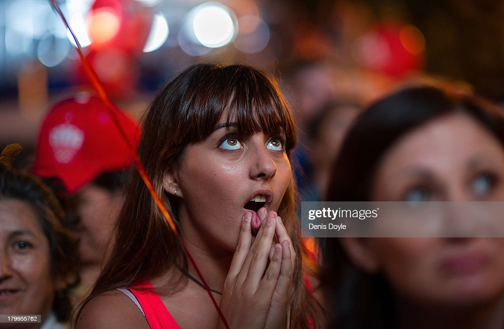 A girl reacts after Madrid was eliminated from the 2020 Olympic Candidacy decision on September 7, 2013 in Madrid, Spain. The International Olympic Committee will choose between Tokyo, Madrid and Istanbul the host city for the 2020 Olympic Games at a meeting in Buenos Aires Seltember 7th.