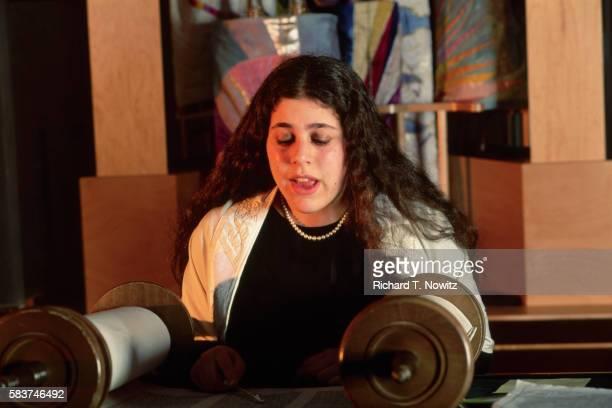 Girl Reading at Bat Mitzvah