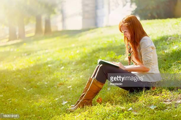 girl reading in the park
