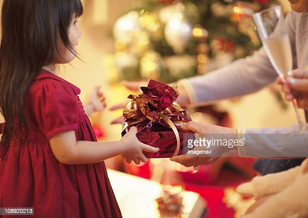 Girl receiving a gift