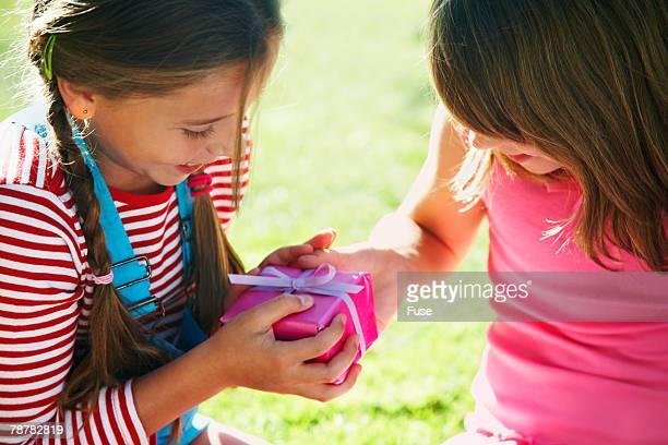 Girl Receiving Birthday Present