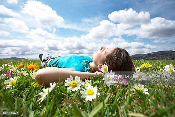 Girl resting in meadow 3