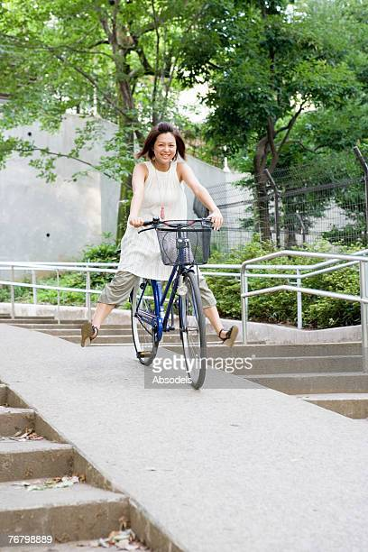 A girl riding a bicycle