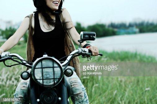 Girl riding motor