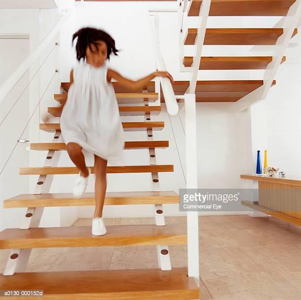 Girl Running Down Stairs