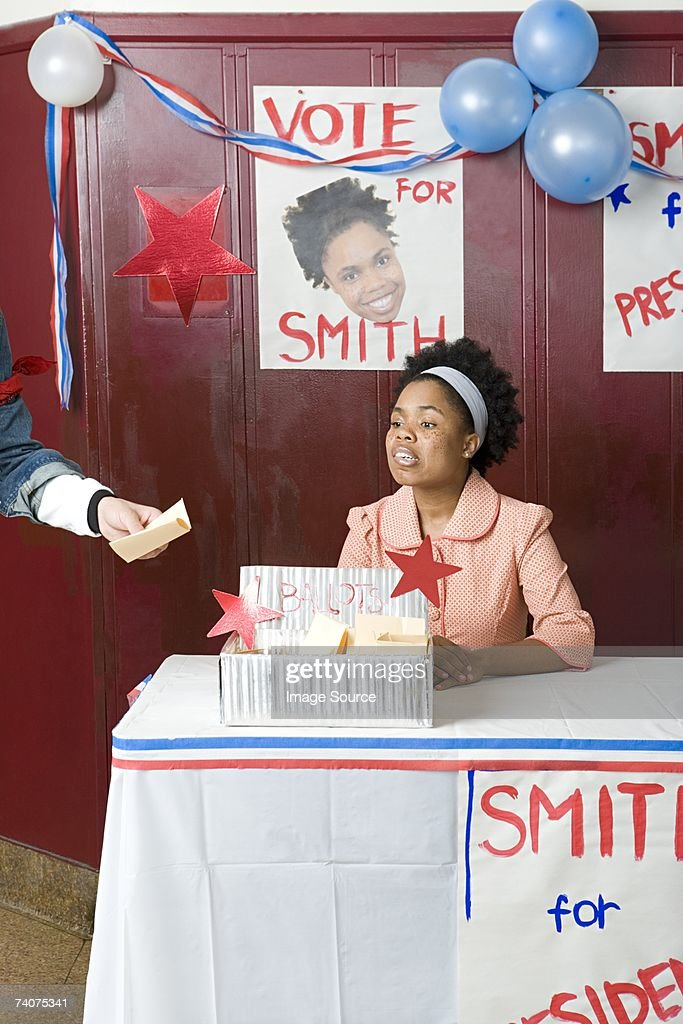 Girl running for president : Stock Photo