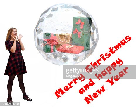 Girl saw a Christmas present in a crystal ball : Foto de stock