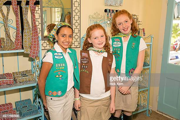 Girl Scouts attend the grand opening of Marisol Deluna New York Design Studio and Educational Foundation at La Villita Historic Art Village on...