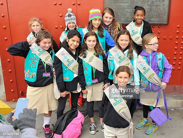 Girl Scouts cross the Golden Gate Bridge at the Girl Scouts of the USA and National Park Service Hosted Bridging Ceremony on May 2 2015 in San...
