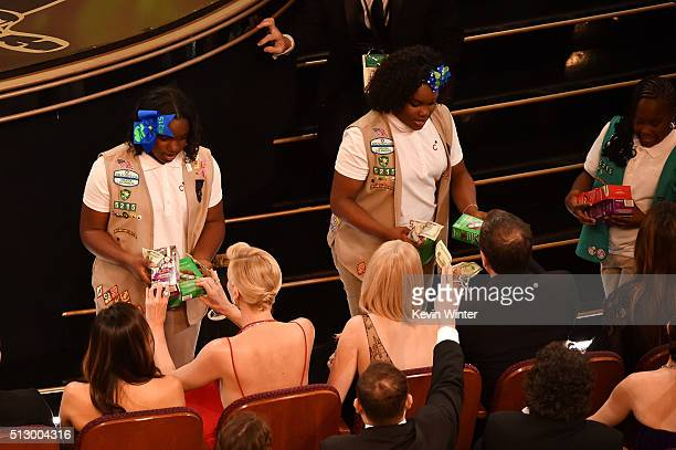 Girl Scouts sell cookies to audience members during the 88th Annual Academy Awards at the Dolby Theatre on February 28 2016 in Hollywood California
