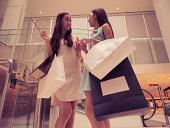 girl shopping at luxury mall