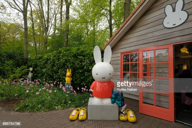 A girl sits next to a figure of the Dutch artist Dick Bruna's Nijntje Dutch name or Mifi at the Keukenhof the world's largest flower and tulip garden...