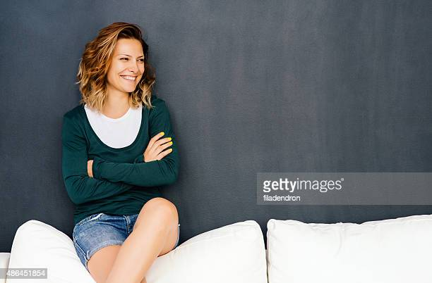 Girl sitting on a couch