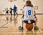 Girl sitting on basketball