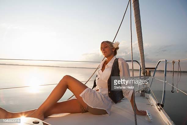 Girl sitting on boat