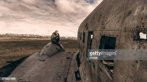 Girl Sitting On Wrecked Aircraft Engine US Navy Douglas Super DC-3