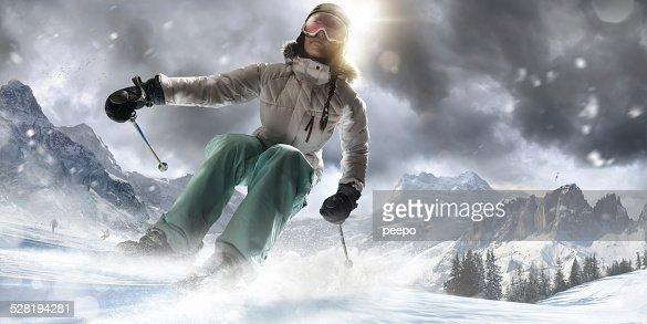Girl Skiing Fast in Ski Resort