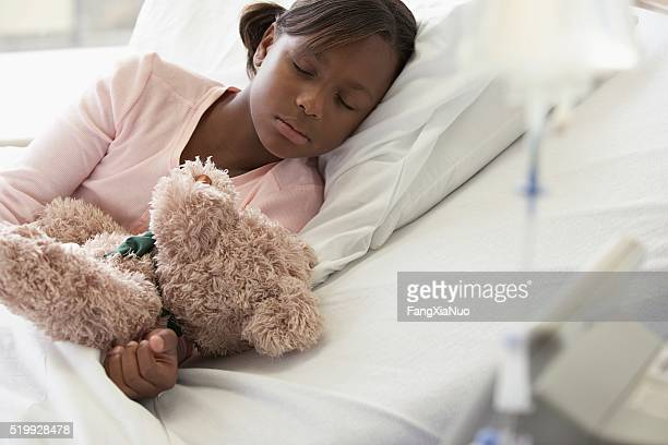 Girl sleeping in a hospital