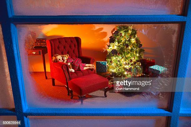 Girl Sleeping in Chair on Christmas Eve
