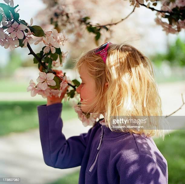 Girl smelling Tree Blossom