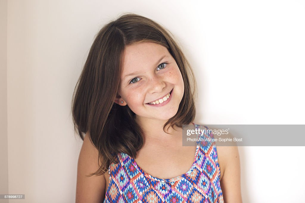 Girl smiling cheerfully, portrait