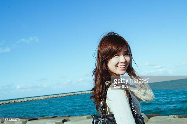 Girl smiling for camera