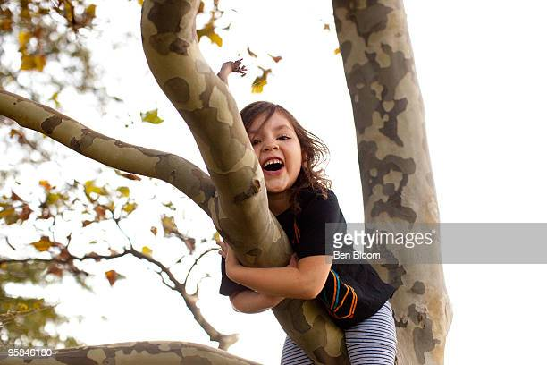 Girl smiling up in tree