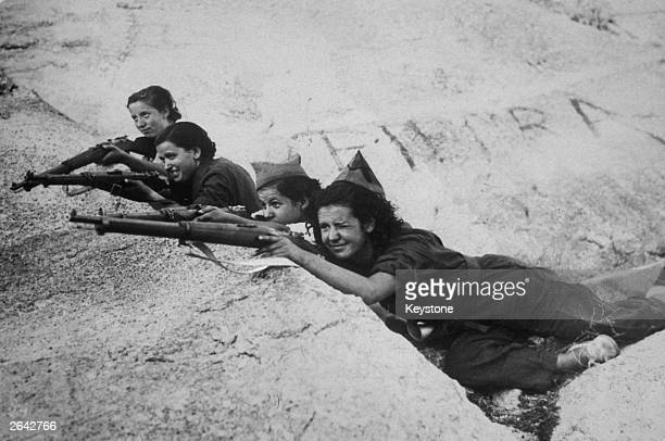 Girl snipers fighting for the government during the Spanish Civil War