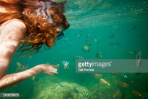 Girl snorkeling in tropical waters : Bildbanksbilder