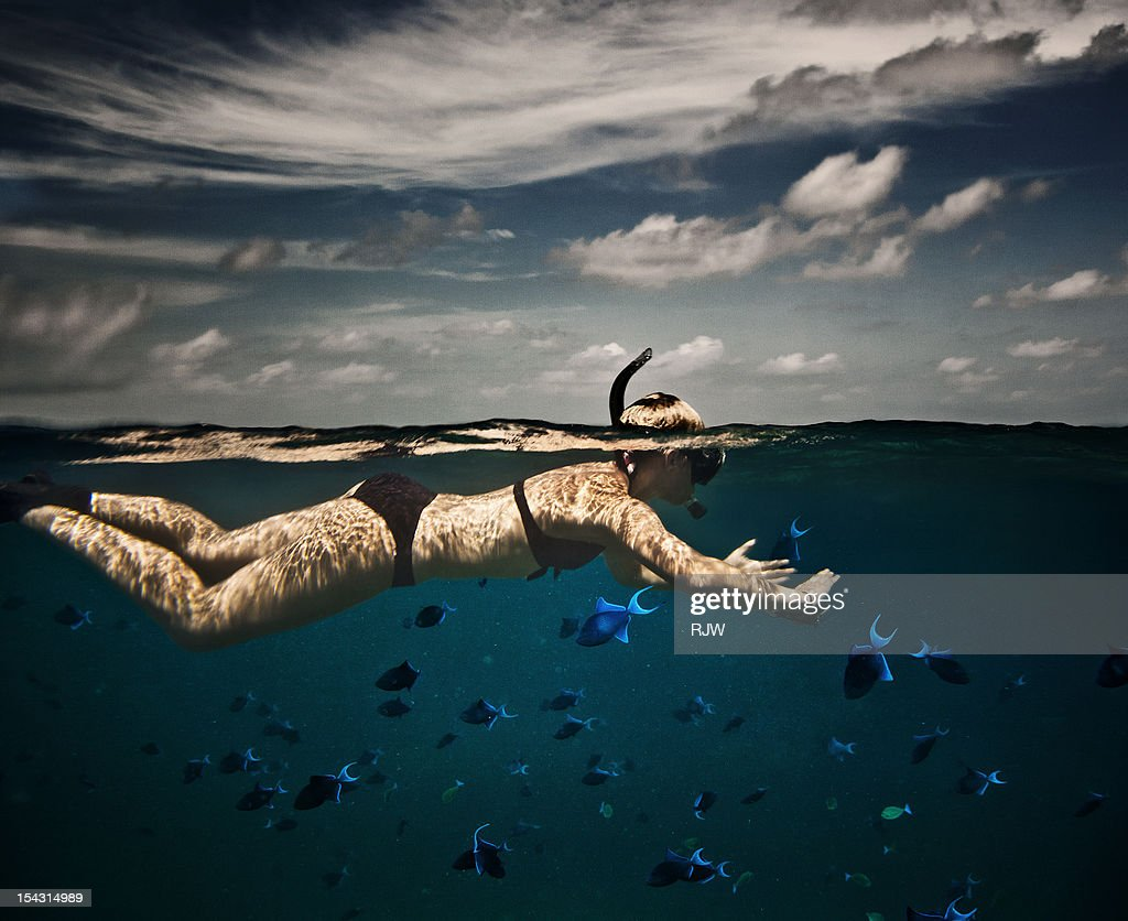 Girl Snorkelling in Indian Ocean : Stock Photo