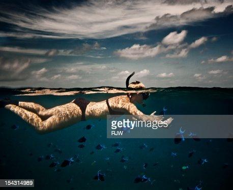 Girl Snorkelling in Indian Ocean : Stockfoto