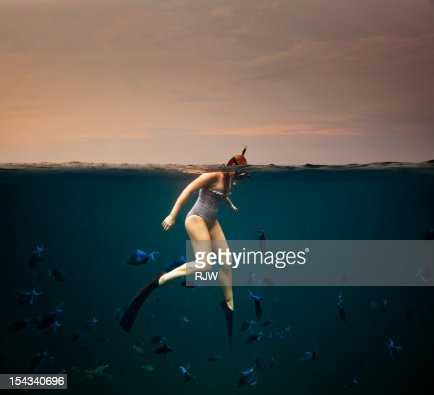Girl Snorkelling : Stock Photo