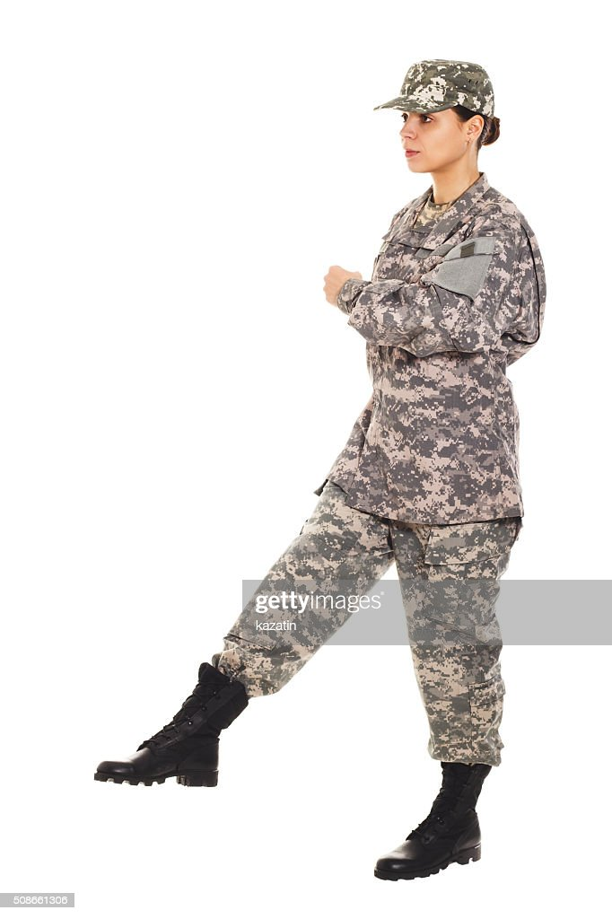 Girl - soldier in the military uniform : Stock Photo