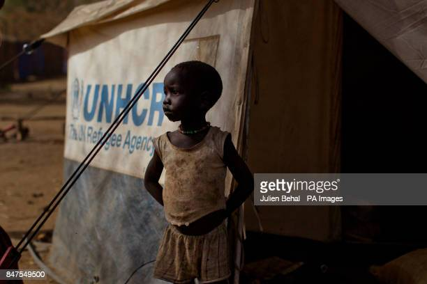 A girl stand beside her tent in Doro refugee camp in BunjMaban in the Upper Nile Blue Nile state of northeastern South Sudan AfricaThe region...