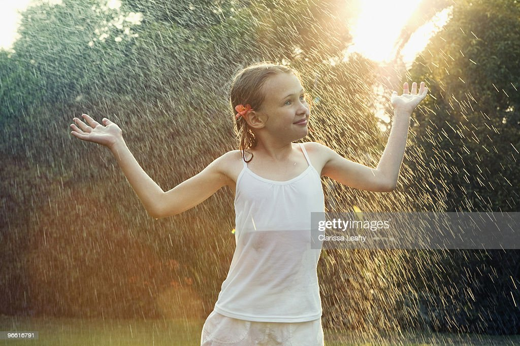 Woman Standing Alone In The Rain Stock Footage Video