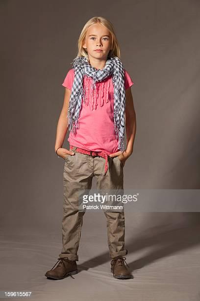 Girl standing in studio