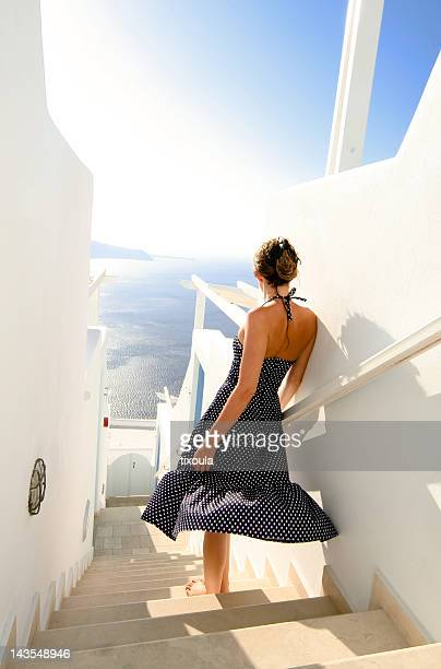 Girl standing on stairway