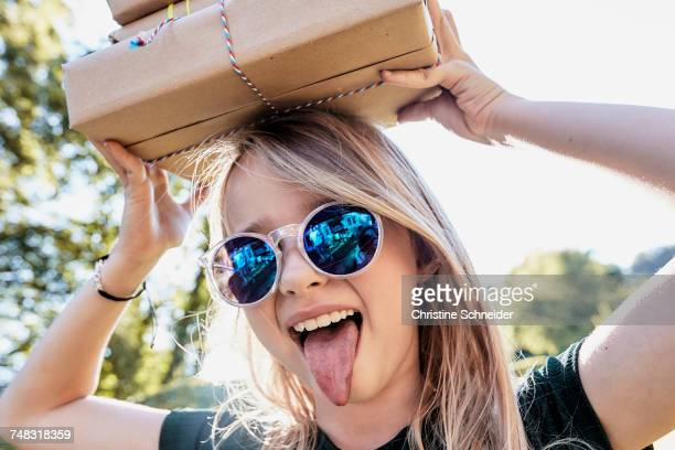 Girl sticking tongue out