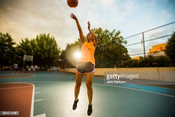Girl street basketball jump shot
