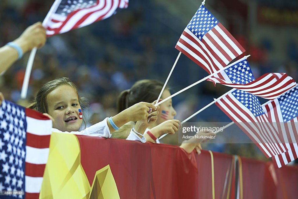 Girl supports team of USA during the FIVB World Championships Volleyball at Cracow Arena on August 31, 2014 in Cracow, Poland.