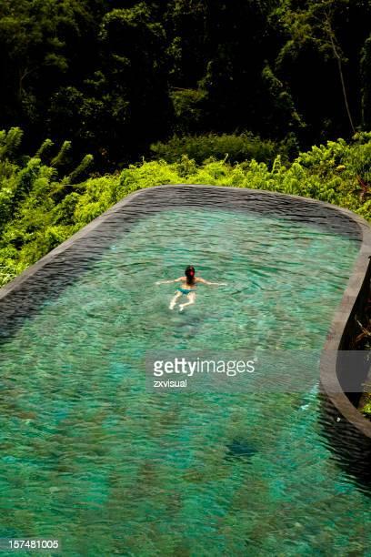 Girl Swimming in Ubud Bali