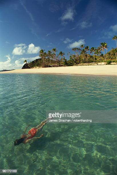 Girl swimming underwater, Yasawa Island, Fiji, Pacific Islands, Pacific