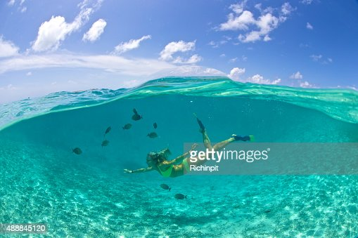 Girl swims with tropical fish in a clear lagoon