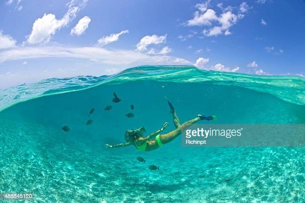 Menina nada com peixes tropicais na lagoa clara