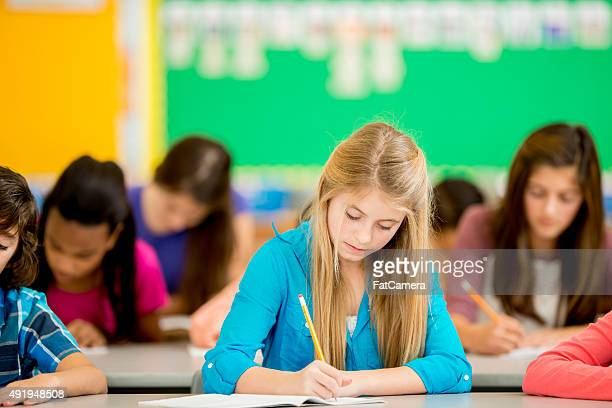 Girl Taking a Math Test