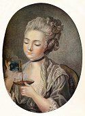 Girl Taking Coffee circa 1774 From The Connoisseur Volume XLII [The Connoisseur Ltd London 1915] Artist Louis Marin Bonnet