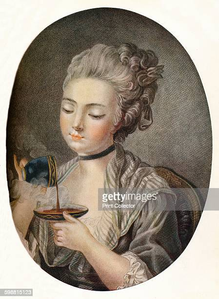 Girl Taking Coffee circa 1774 From The Connoisseur Volume XLII [The Connoisseur Ltd London 1915] Artist Louis Marin Bonnet