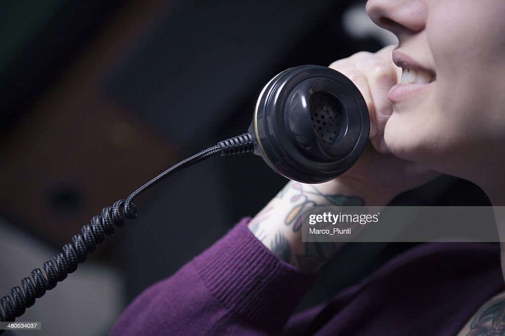 Girl talk at the phone : Stock Photo
